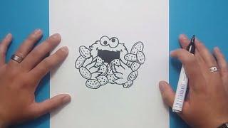 Como dibujar al Monstruo de las galletas paso a paso - Barrios Sesamo | How to draw Cookie Monster