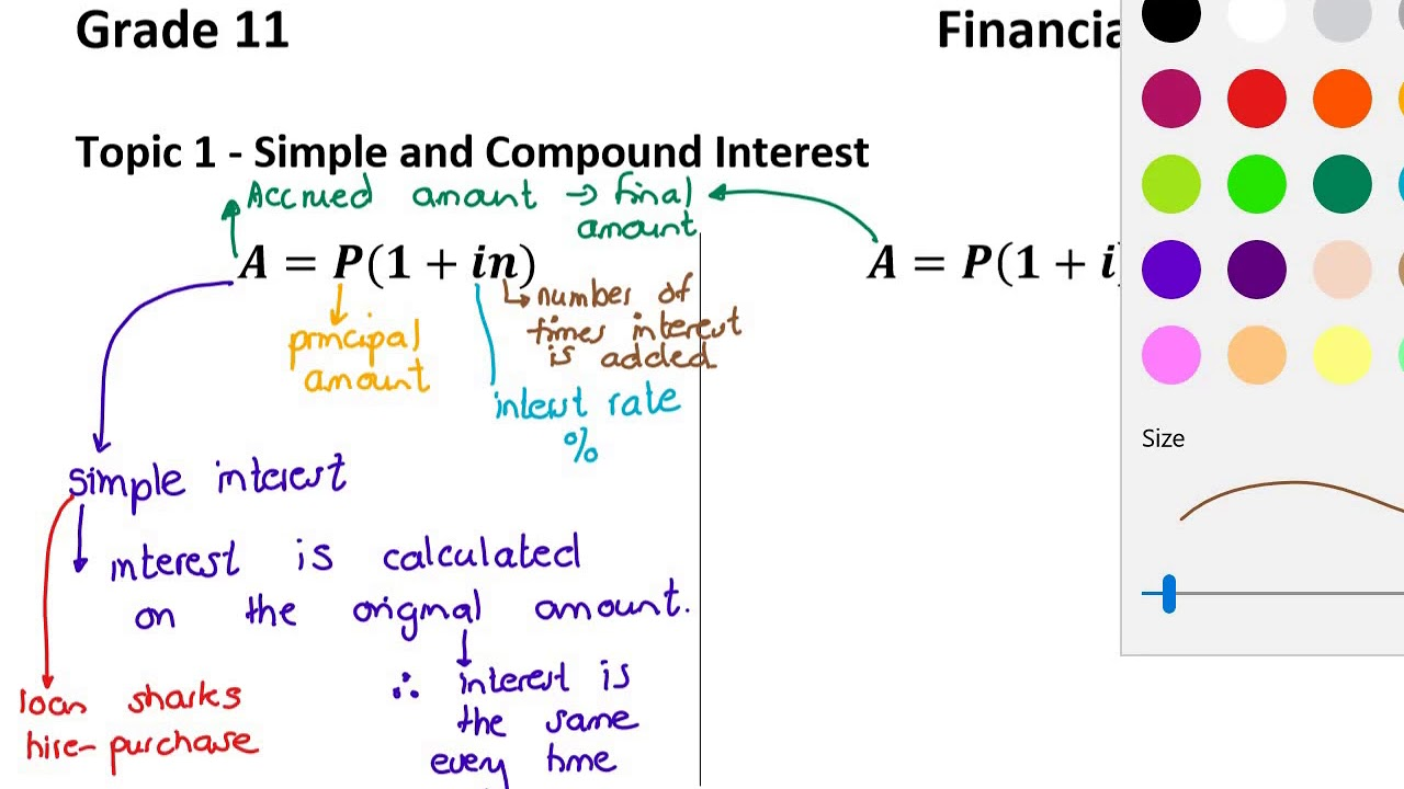 small resolution of Grade 11 - Financial Maths Topic 1- Simple and Compound Interest - YouTube