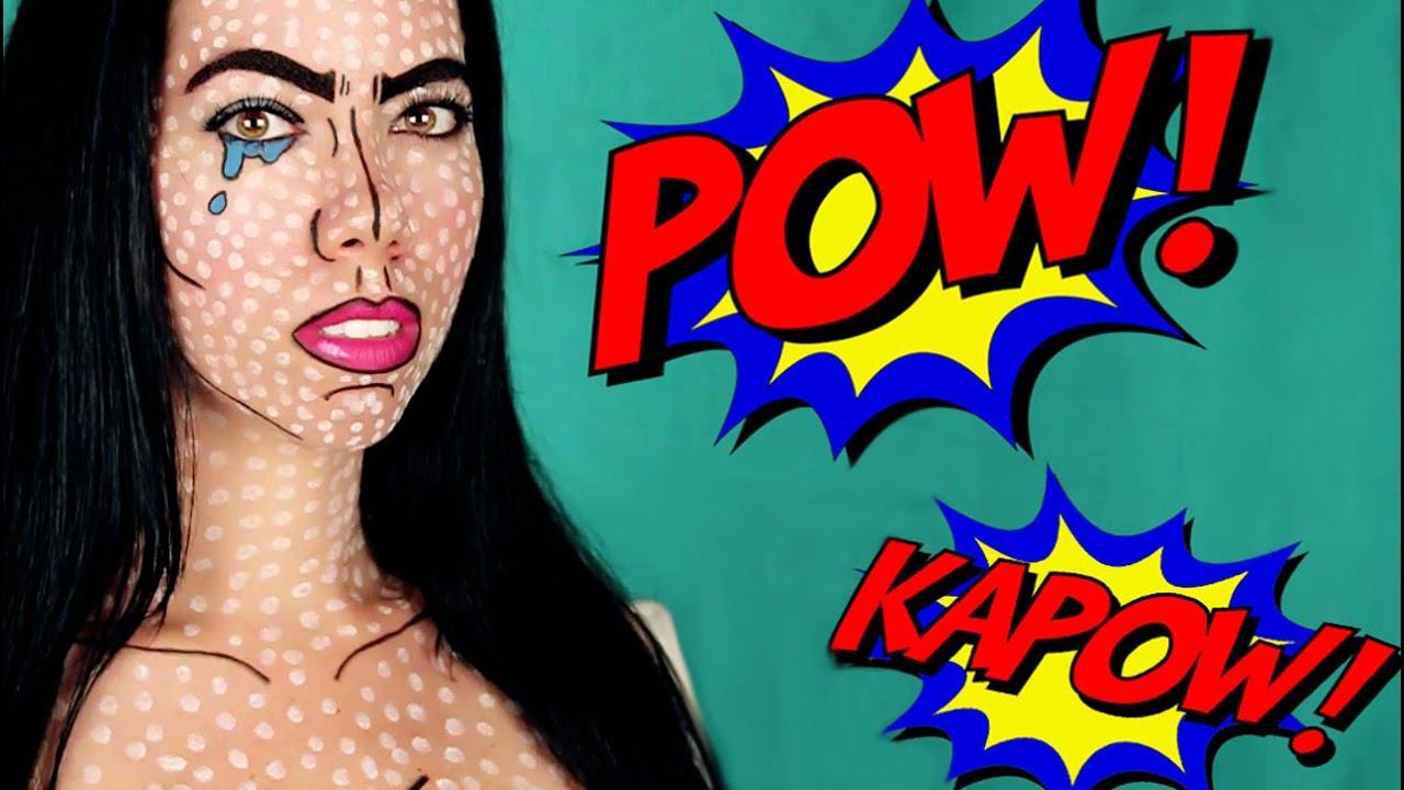 sc 1 st  YouTube & Pop Art / Comic Book Makeup Tutorial I Easy Halloween Costume - YouTube