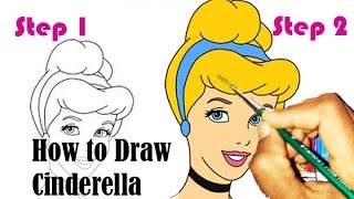 How to Draw Cinderella - Step by Step Video - Drawing Tutorial For Kids