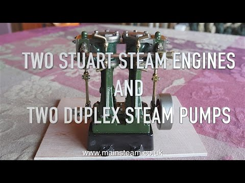 TWO STUART MODELS STEAM ENGINES AND TWO MINIATURE STEAM PUMPS