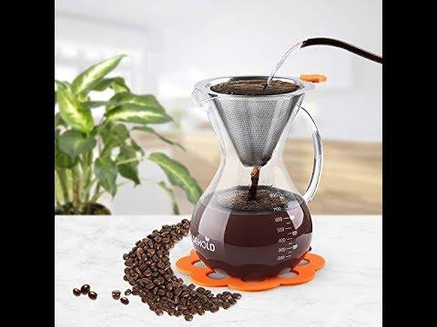 Cafetera Cafetera de goteo manual Cafetera de vidrio con filtro de acero inoxidable