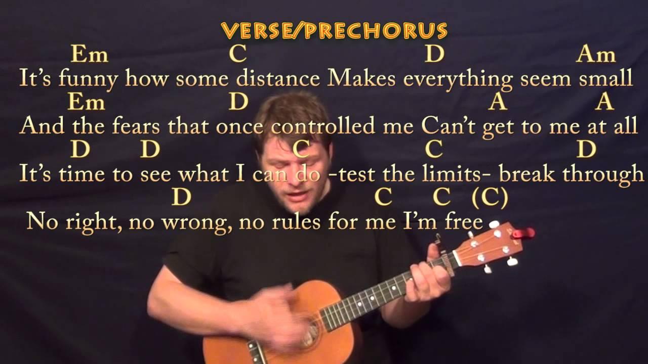 Let It Go (FROZEN) Baritone Ukulele Cover Lesson with Chords and Lyrics - YouTube