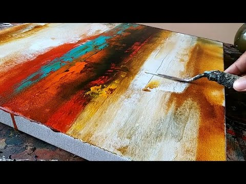 Abstract Painting / Easy /How to paint acrylic abstract painting /Just using palette knife / Demo