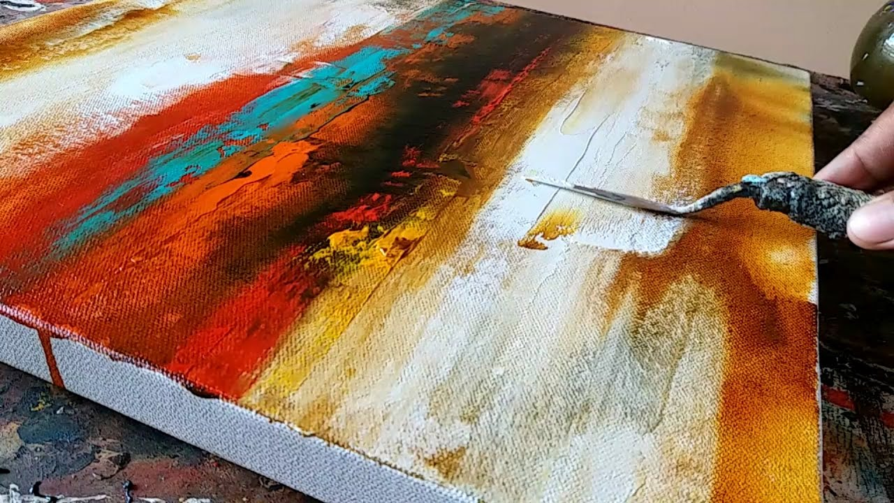 Abstract Painting Easy How To Paint Acrylic Abstract Painting Just Using Palette Knife Demo
