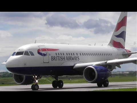 CLOSE! BA Airbus A318 G-EUNB Departure at Cambridge Airport