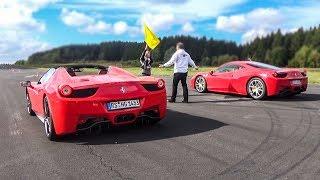Ferrari 458 Italia vs 458 Spider vs Audi R8 V10 - DRAG RACE