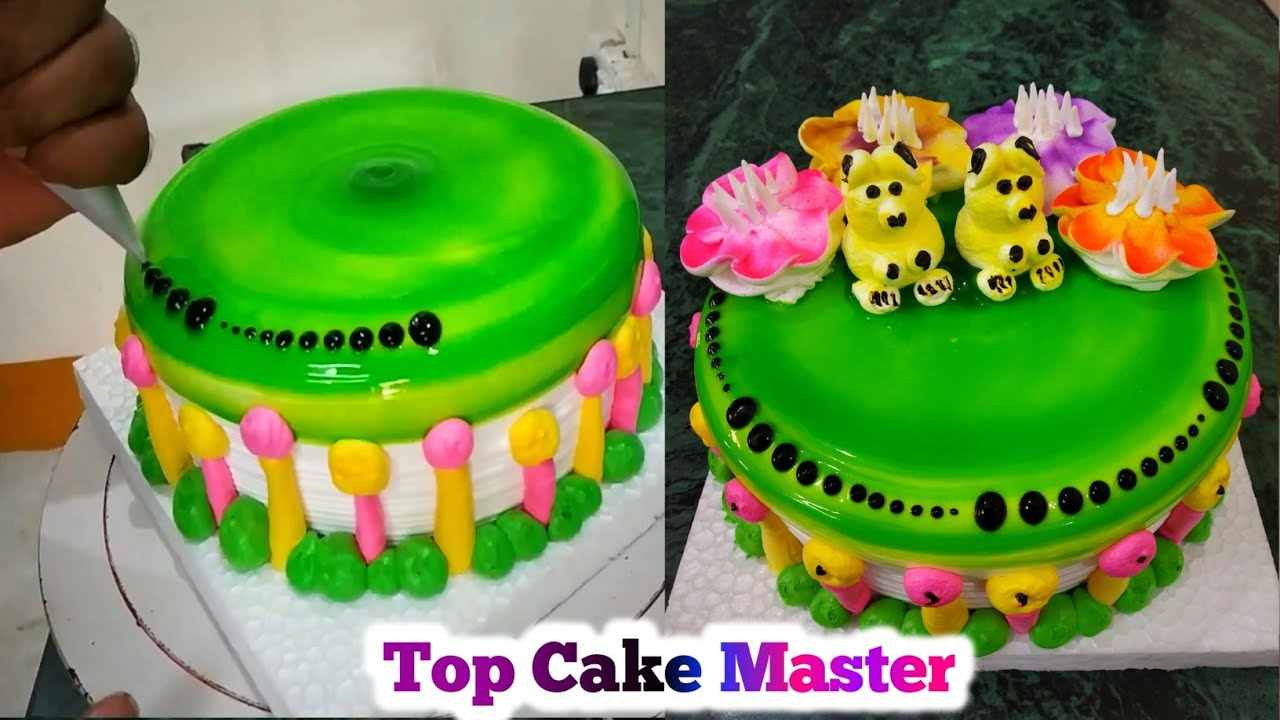 How To Make 1 Kg Tow Teddy Bears Green Apple Cake Decoration Top Cake Master Youtube