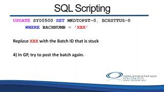 Resolving Stuck Batches in Microsoft Dynamics GP