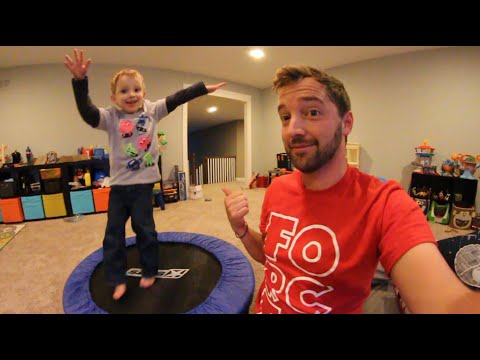 Father Son Trampoline Time!