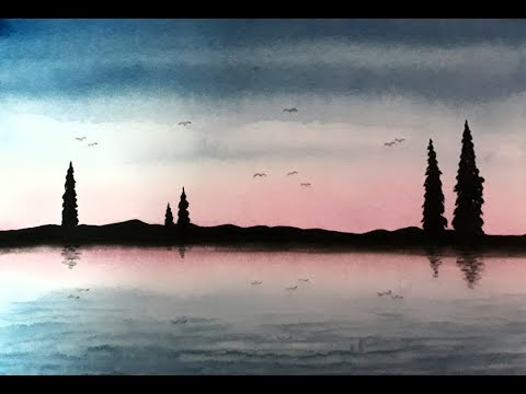 WATERCOLOR PAINTING Easy Tutorial landscape of sky