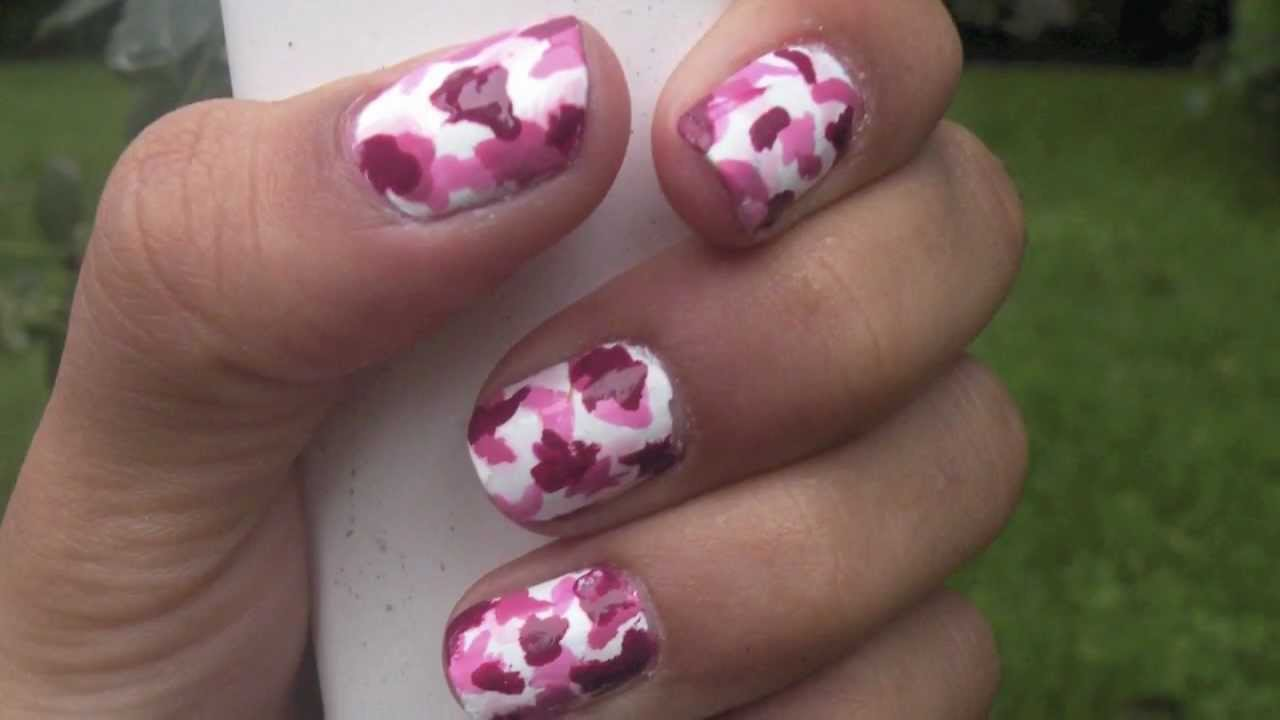 Tutorial Pink Camouflage Nails Youtube