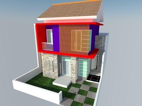SketchUp Modeling Tutorial Rumah 2 lantai part 3 rendering