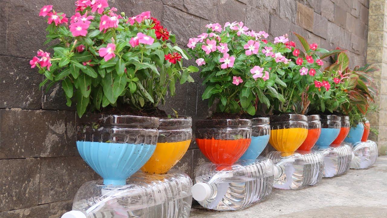 Smart idea for Plastic Bottles, Recycling Plastic bottles into Flower pots