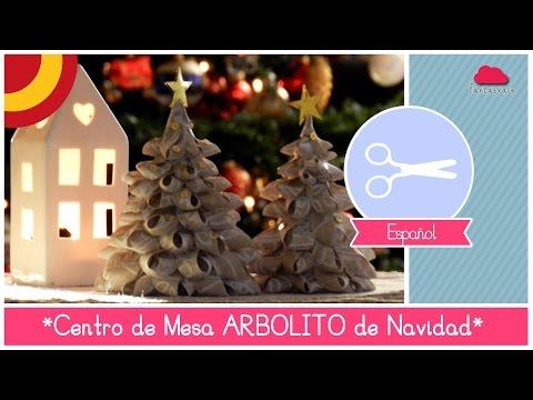 Manualidad DIY Centro de Mesa Navideño: como hacer Arbolitos de Navidad de Tejido