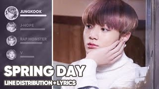BTS - Spring Day (Line Distribution+Lyrics Color Coded) PATREON REQUESTED