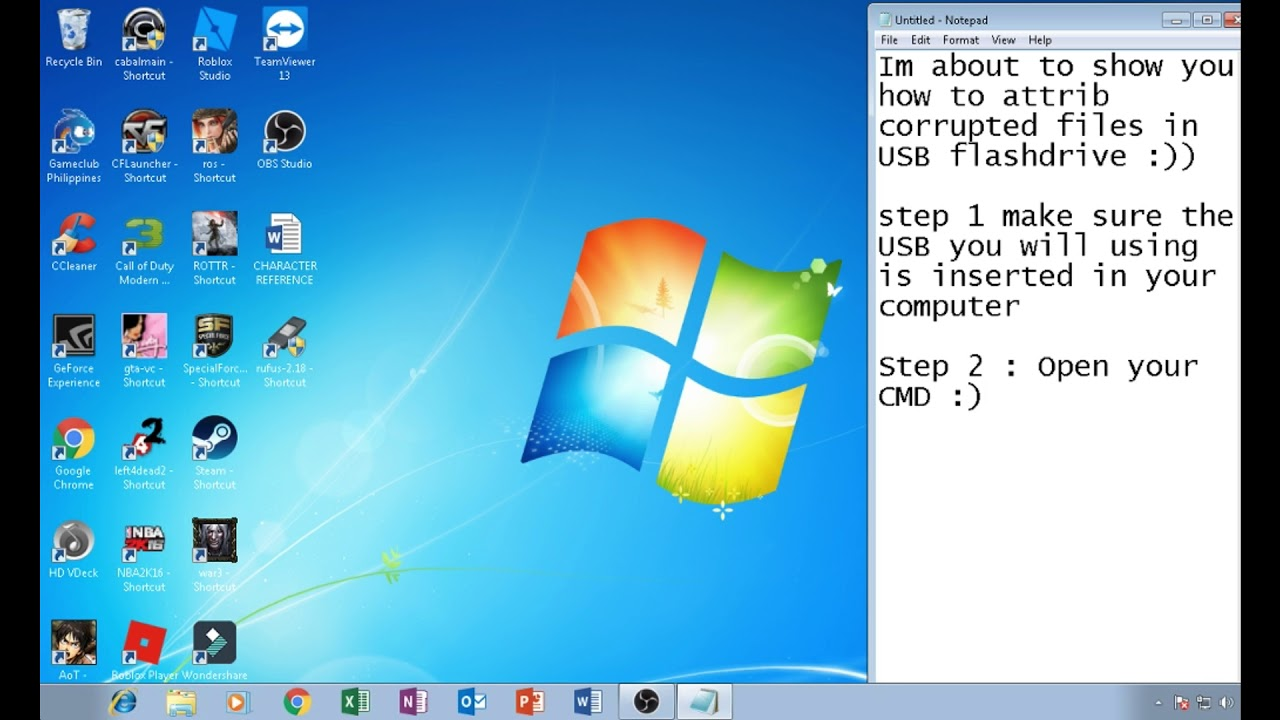 How to attrib corrupted files in USB flashdrive