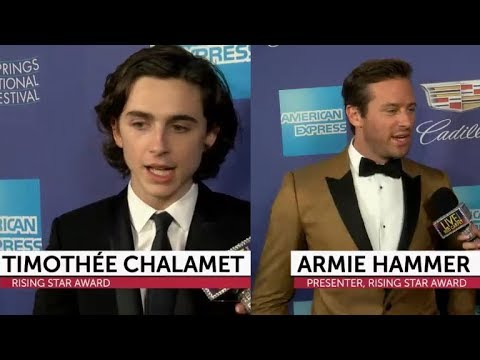 Timothée Chalamet and Armie Hammer on red carpet at PSIFF 2018