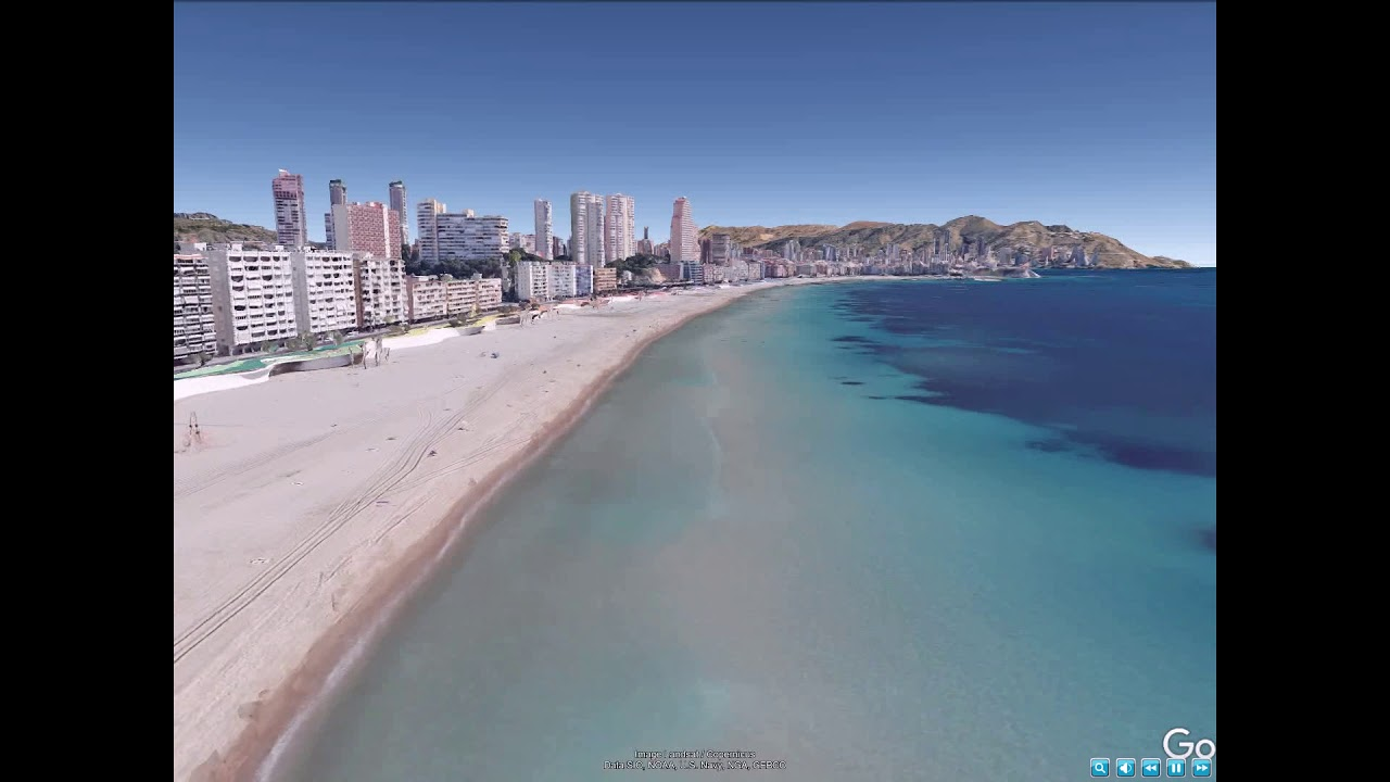 Benidorm , Spain - All the Benidorm beach from Poniente to Levante