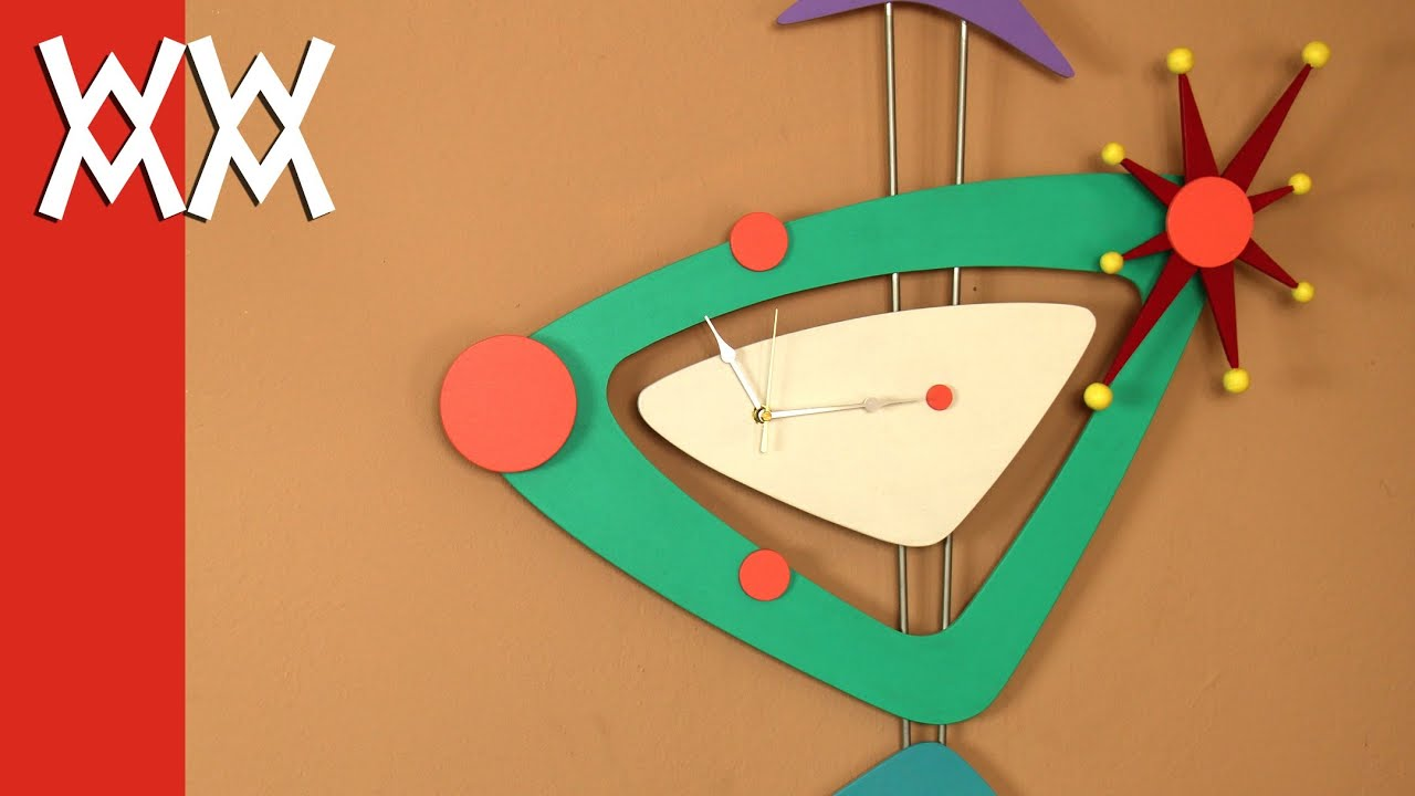 Make this Jetsons wall clock. Retro! Limited tools woodworking project. Free plans. - YouTube