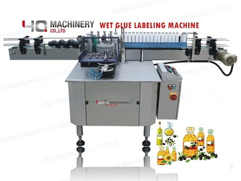 Automatic Wet Glue Labeling Machines For 1 Gallon Square Oil Bottles