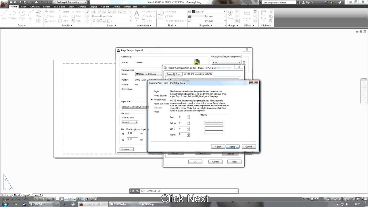 Autocad 2013 tutorial set custom page size youtube for How to find a good builder in your area