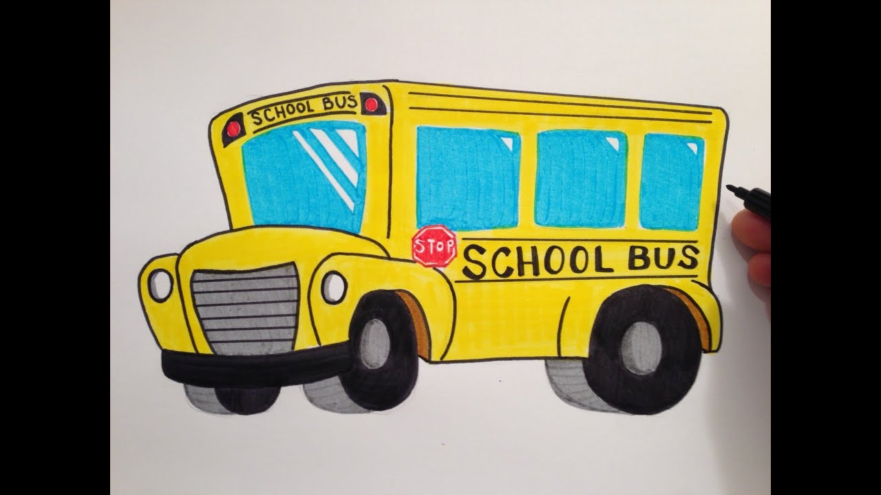 how to draw a cute school bus youtube