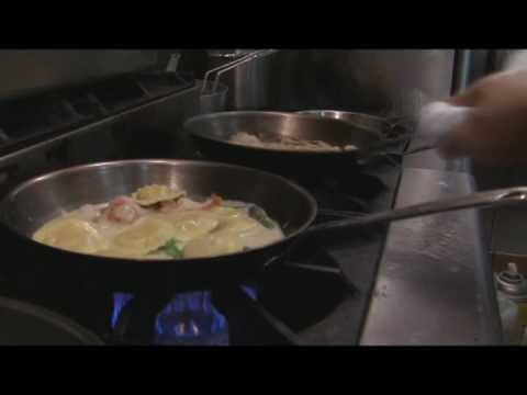Olivios Bistro Simi Valley Chef Makes Veal Chop and Lobster Ravioli Video
