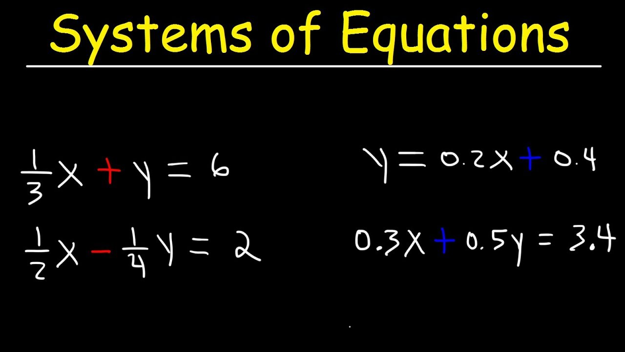 Solving Systems of Equations With Fractions and Decimals