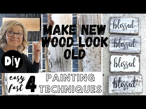 4 Painting Techniques to make NEW wood Look OLD & DISTRESSED (( Attention Signmakers! ))