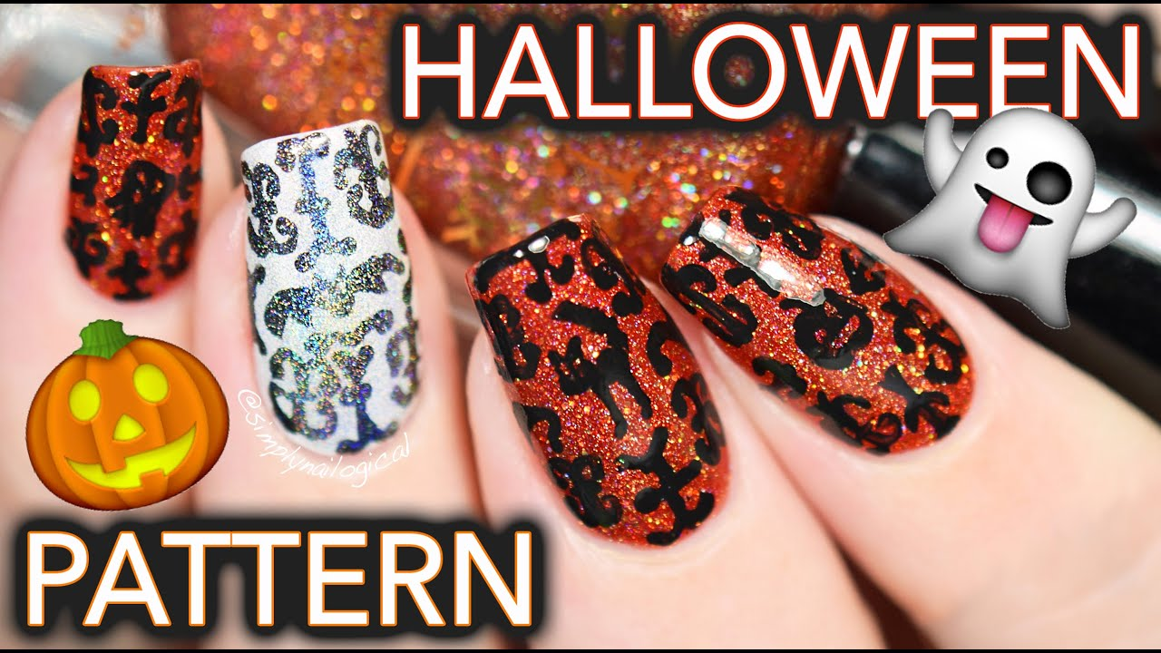 Halloween Pattern Nail Art Damask Da Fuq Youtube