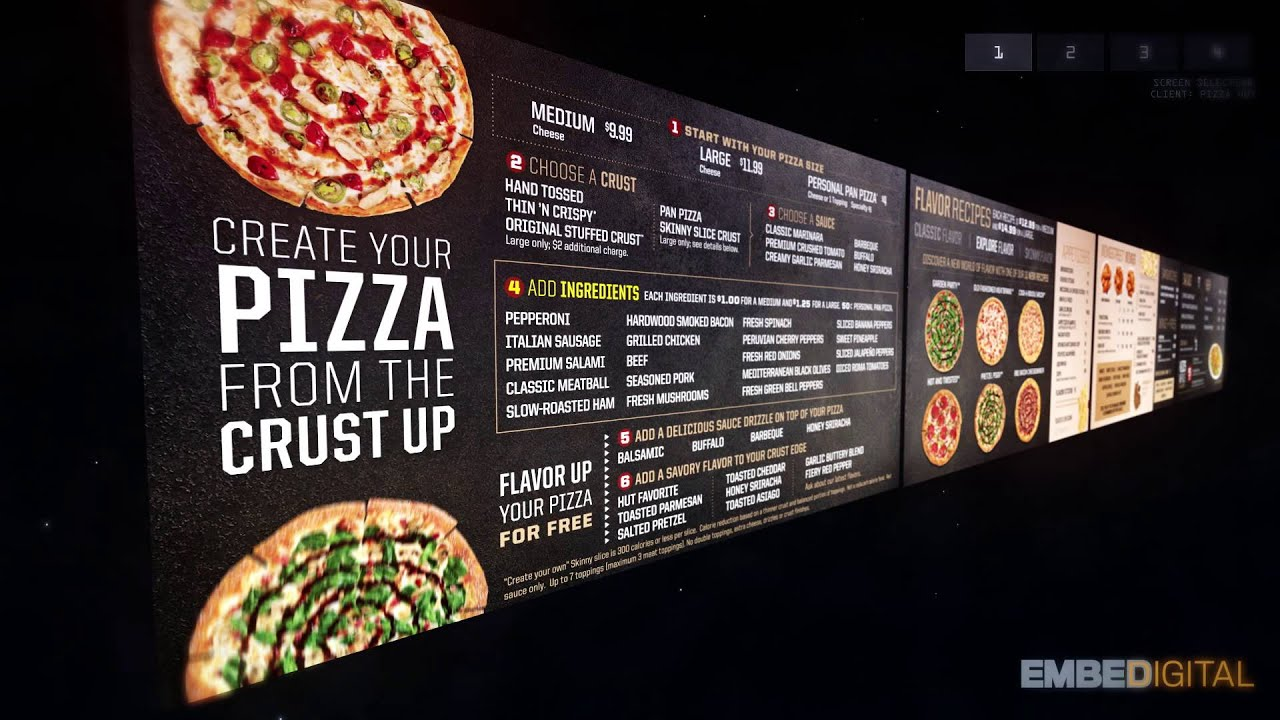 Digital menu board for pizza hut created by embed digital maxwellsz