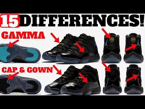 15 DIFFERENCES! AIR JORDAN 11 GAMMA vs CAP AND GOWN!