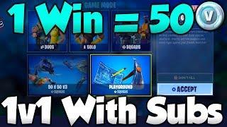 1 WIN = 50 VBucks! Fortnite 1v1 PlayGround Mode! - Fortnite PlayGround LTM