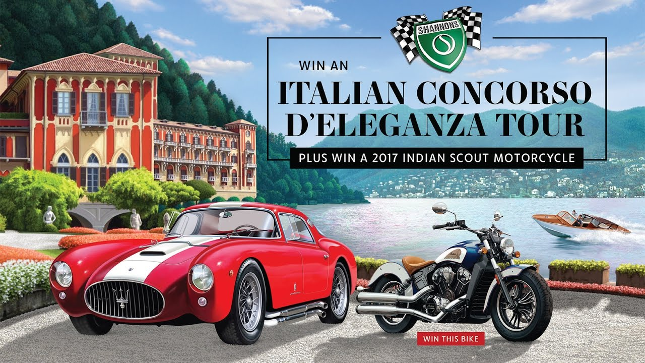 Win an Italian Concorso D'eleganza Tour Plus Win 2017 Indian Scout Motorcycle