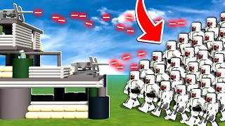 BUNKER FACTORY vs 100 STEEL ROBOTS In Roblox!