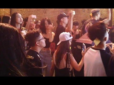 Nightlife In Hanoi, Vietnam, Beautiful Vietnamese Girls Dancing In A Nightclub