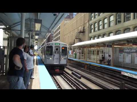 "CTA ""L"" Trains: Green, Pink, and Brown Line Trains at State/Lake Station"