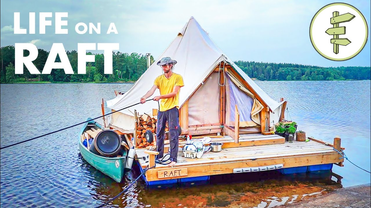 Couple Living in a Tent on a Self-Built Raft - Floating Off the Grid