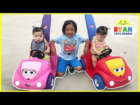 Thumbnail: Twin Babies riding Step2 Push Around Buggy Car! Family Fun Kids Playtime with Ryan ToysReview