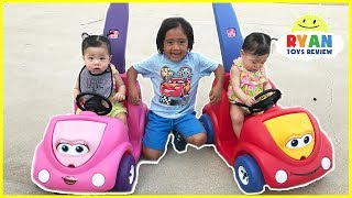 Twin Babies riding Step2 Push Around Buggy Car! Family Fun Kids Playtime with Ryan ToysReview thumbnail