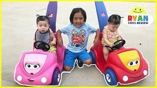 Twin Babies riding Step2 Push Around Buggy Car!