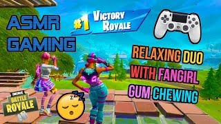 ASMR Gaming ???? Fortnite Relaxing Duos With A Fangirl Gum Chewing ???????? Controller Sounds + Whispering ????