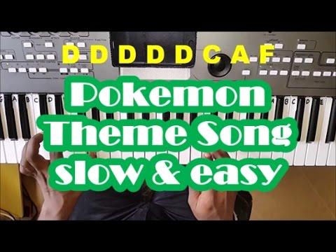 Pokemon Theme Song SLOW Easy Piano Tutorial