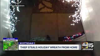 Real-life Grinch caught on video stealing holiday wreath