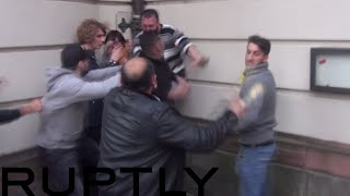 Turks vs Kurds in brutal Frankfurt street-fight: Knives & bottles brandished