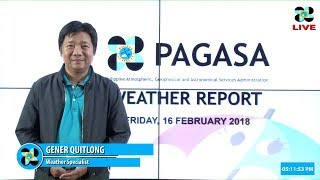 Public Weather Forecast Issued at 4:00 PM February 16, 2018