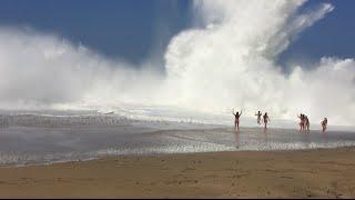 Giant Wave Crash Lumaha'i Beach in Kauai, Hawaii