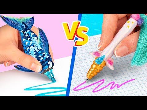 تحدي 10 ادوات مدرسية للحصان الخيالي ضد عروس البحر تعمليهم بنفسك!