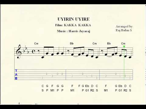 uyirin uyirae sheet music notations